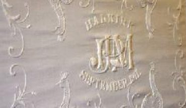 A close up view of the giant bedspread that was presented to John Ross the benefactor of Halkirk's Ross Institute building, in 1911